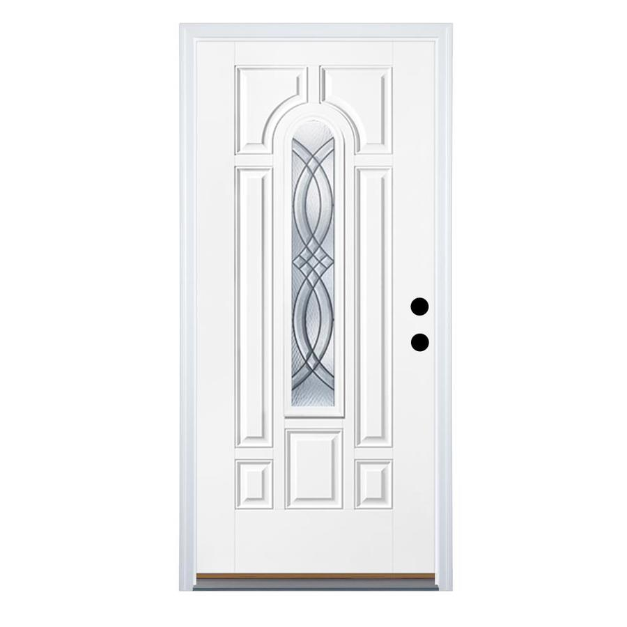 Therma-Tru Benchmark Doors Terracourt 8-panel Insulating Core Center Arch Lite Right-Hand Outswing Ready to paint Fiberglass Unfinished Prehung Entry Door (Common: 36-in x 80-in; Actual: 37.5-in x 80.5-in)