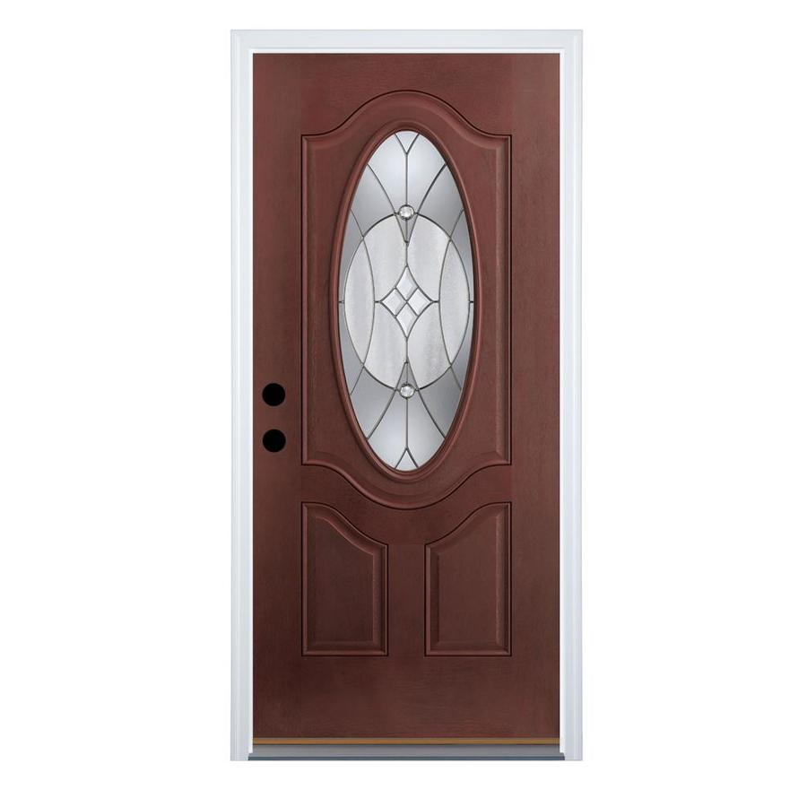Therma-Tru Benchmark Doors Delano 2-Panel Insulating Core Oval Lite Right-Hand Inswing Dark Mahogany Fiberglass Stained Prehung Entry Door (Common: 32-in x 80-in; Actual: 33.5-in x 81.5-in)