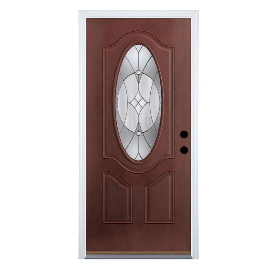 Therma-Tru Benchmark Doors Delano 2-Panel Insulating Core Oval Lite Right-Hand Outswing Dark Mahogany Fiberglass Stained Prehung Entry Door (Common: 32.0-in x 80.0-in; Actual: 33.5-in x 80.5-in)
