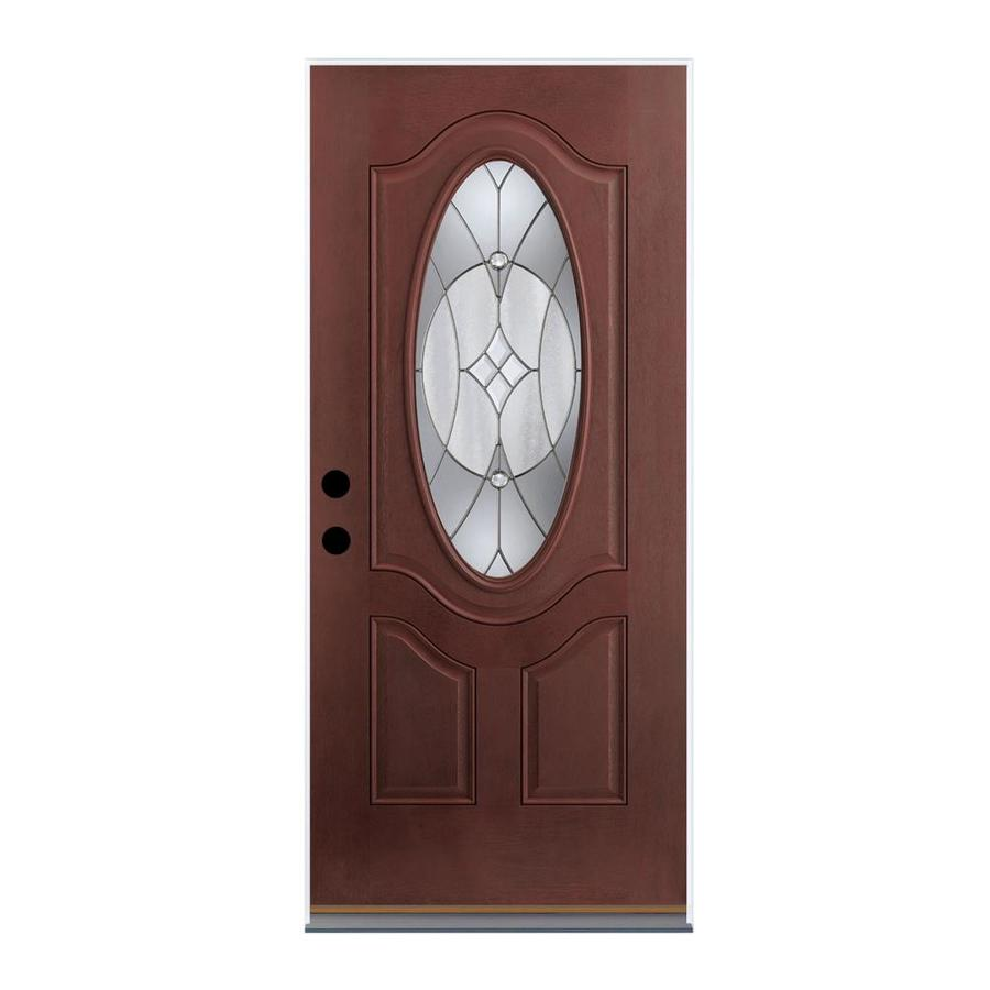 Therma-Tru Benchmark Doors Delano 2-Panel Insulating Core Oval Lite Left-Hand Outswing Dark Mahogany Fiberglass Stained Prehung Entry Door (Common: 32-in x 80-in; Actual: 33.5-in x 80.5-in)