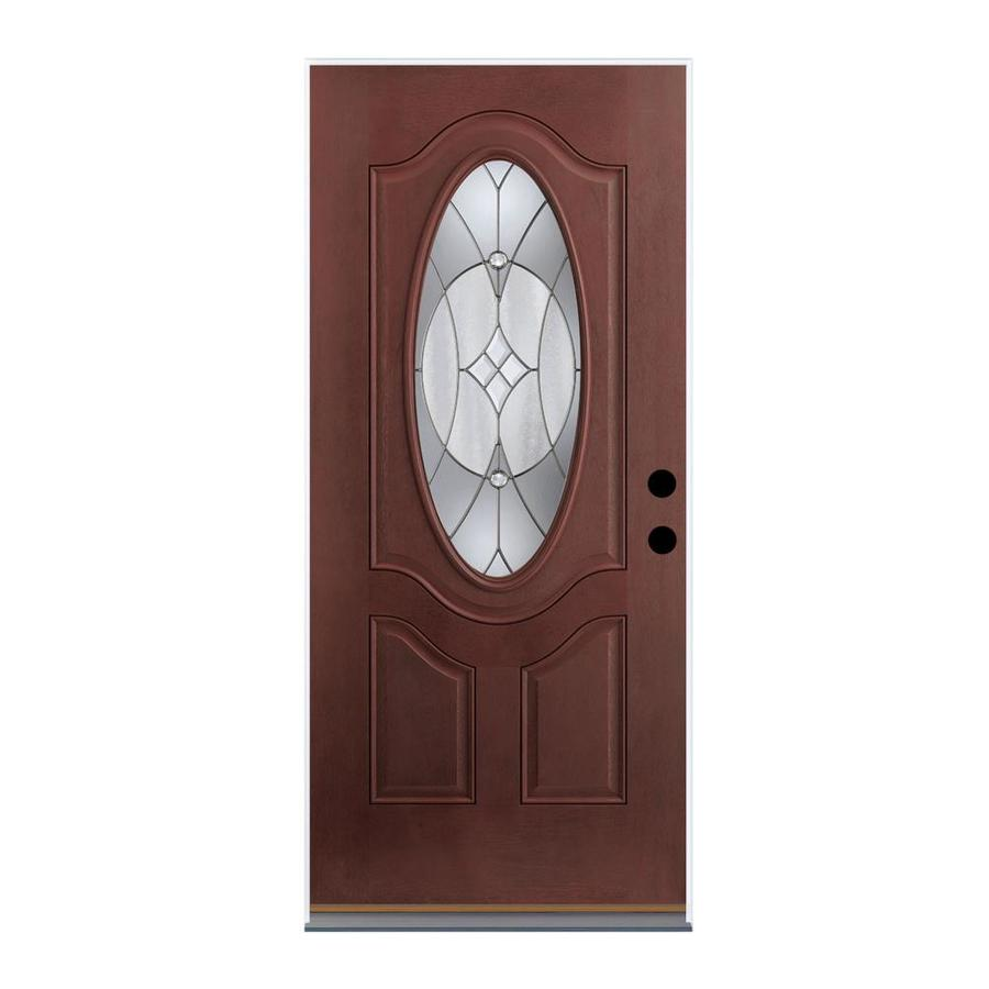 Therma-Tru Benchmark Doors Delano 2-Panel Insulating Core Oval Lite Right-Hand Outswing Dark Mahogany Fiberglass Stained Prehung Entry Door (Common: 32-in x 80-in; Actual: 33.5-in x 80.5-in)