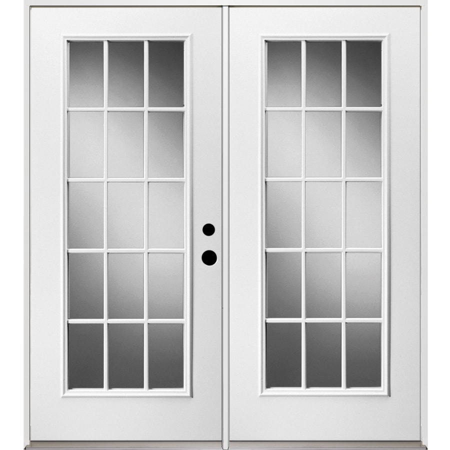 French Exterior Doors Steel: ReliaBilt 71.375-in 15-Lite Glass Unfinished Steel French
