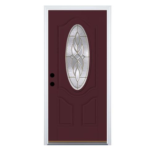 Therma Tru Benchmark Doors Varissa Oval Lite Decorative Glass Right Hand Inswing Cranberry Painted Fiberglass Prehung Entry Door With Insulating Core Common 32 In X 80 In Actual 33 5 In X 81 5 In In The Front Doors Department