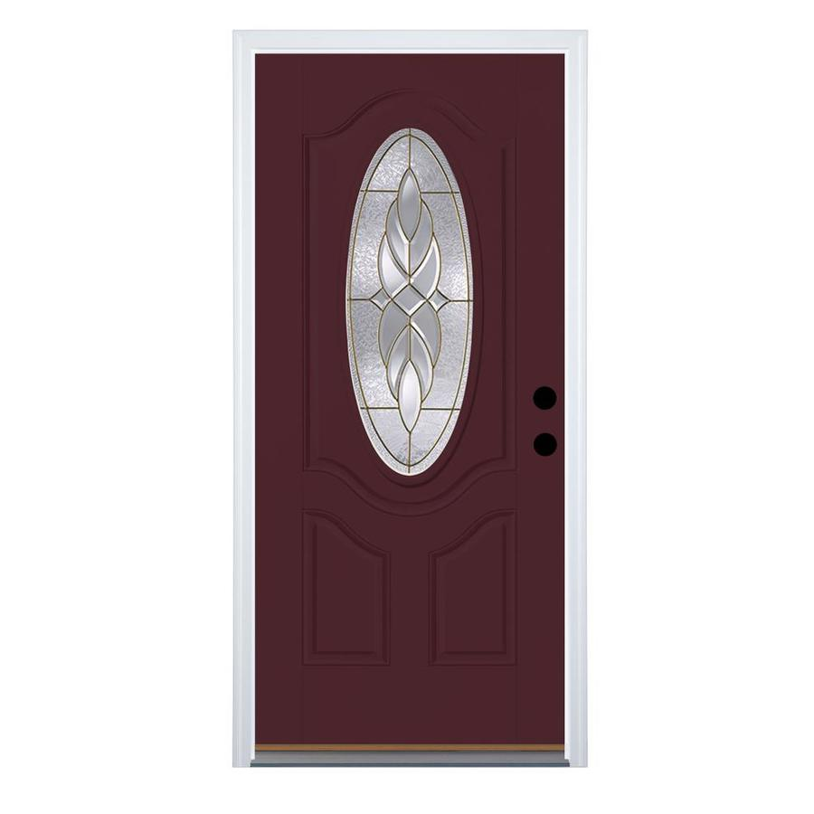 Therma-Tru Benchmark Doors Varissa 2-Panel Insulating Core Oval Lite Right-Hand Outswing Cranberry Fiberglass Painted Prehung Entry Door (Common: 32.0-in x 80.0-in; Actual: 33.5-in x 80.5-in)