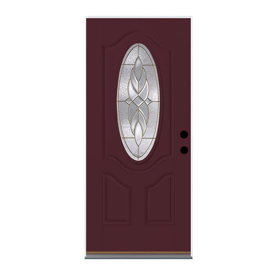 Therma-Tru Benchmark Doors Varissa Left-Hand Inswing Cranberry Painted Fiberglass Entry Door with Insulating Core (Common: 32-in x 80-in; Actual: 33.5-in x 81.5-in)