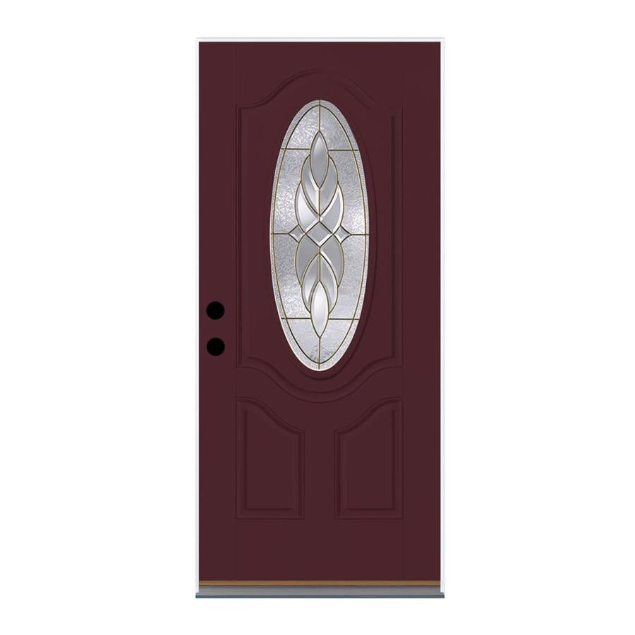 Therma-Tru Benchmark Doors Varissa 2-Panel Insulating Core Oval Lite Left-Hand Outswing Cranberry Fiberglass Painted Prehung Entry Door (Common: 32.0-in x 80.0-in; Actual: 33.5-in x 80.5-in)