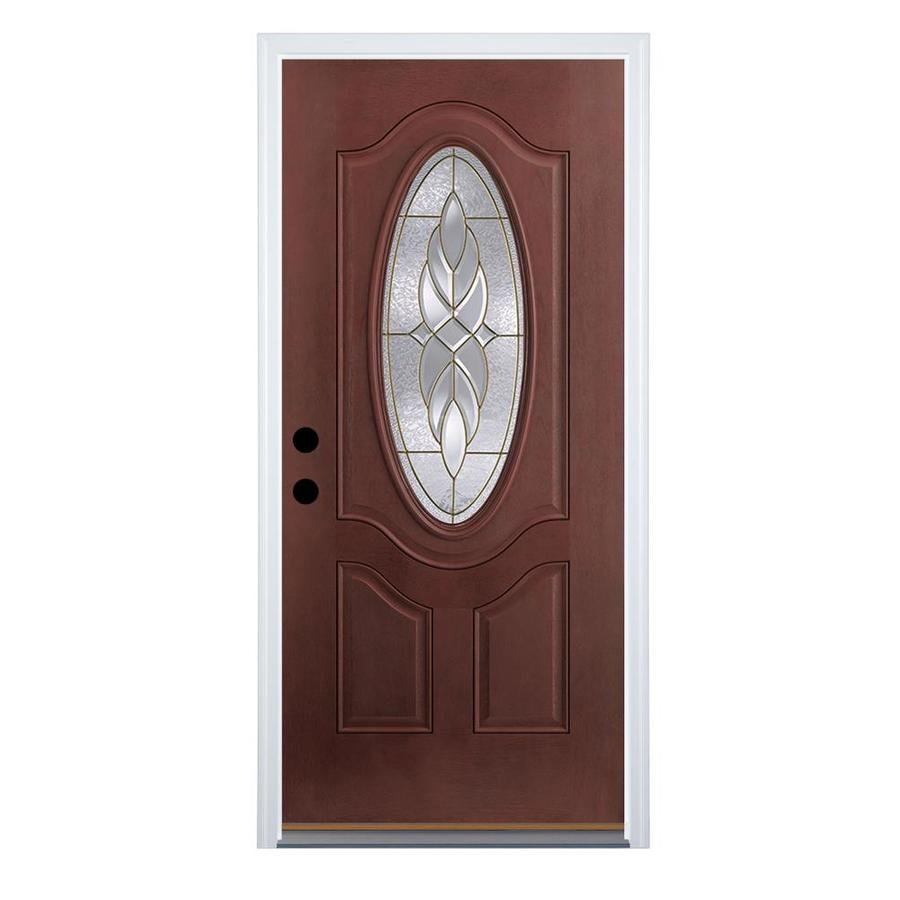 Therma-Tru Benchmark Doors Varissa 2-Panel Insulating Core Oval Lite Right-Hand Inswing Dark Mahogany Fiberglass Stained Prehung Entry Door (Common: 36.0-in x 80.0-in; Actual: 37.5-in x 81.5-in)