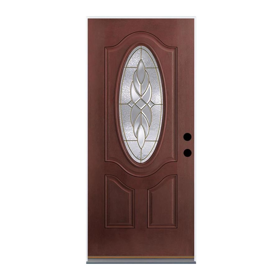 Therma-Tru Benchmark Doors Varissa 2-Panel Insulating Core Oval Lite Right-Hand Outswing Dark Mahogany Fiberglass Stained Prehung Entry Door (Common: 36.0-in x 80.0-in; Actual: 37.5-in x 80.5-in)