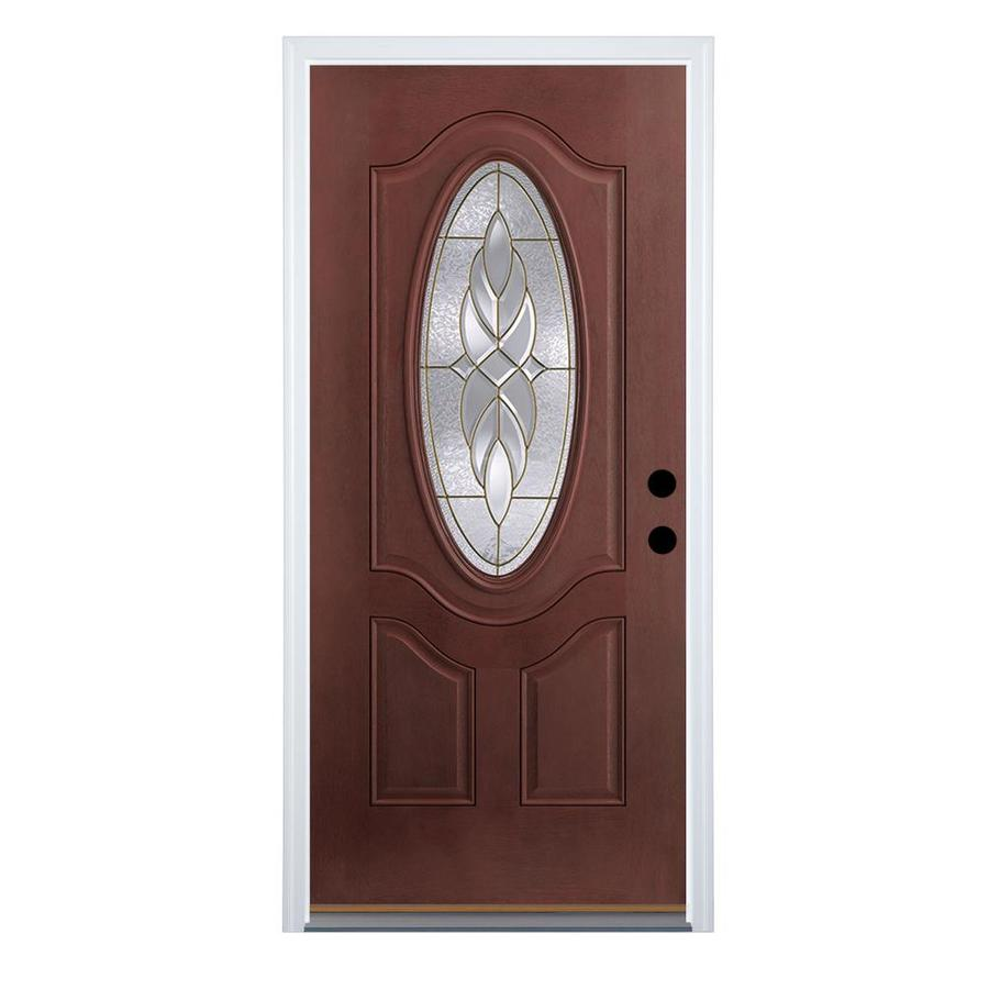 Therma-Tru Benchmark Doors Varissa 2-Panel Insulating Core Oval Lite Right-Hand Outswing Dark Mahogany Fiberglass Stained Prehung Entry Door (Common: 32-in x 80-in; Actual: 33.5-in x 80.5-in)