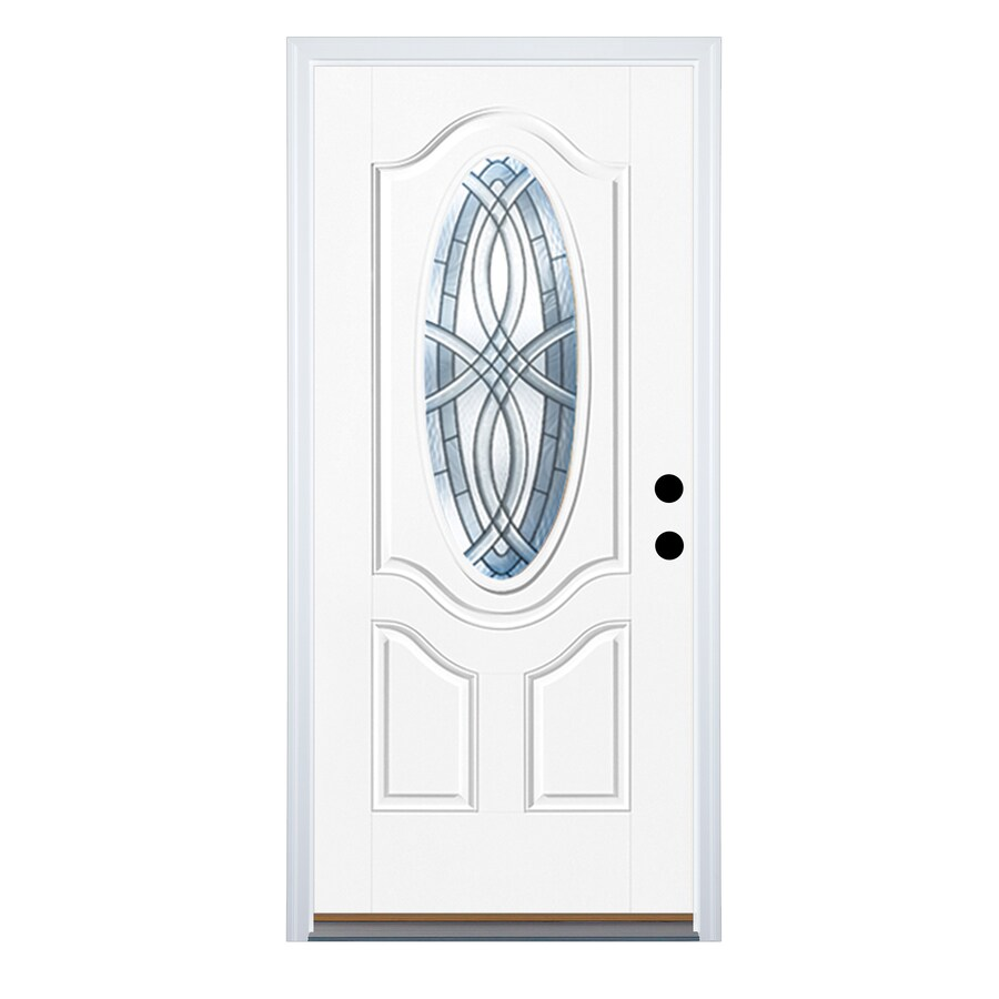 Therma-Tru Benchmark Doors TerraCourt 2-Panel Insulating Core Oval Lite Right-Hand Outswing Ready to Paint Fiberglass Unfinished Prehung Entry Door (Common: 36-in x 80-in; Actual: 37.5-in x 80.5-in)