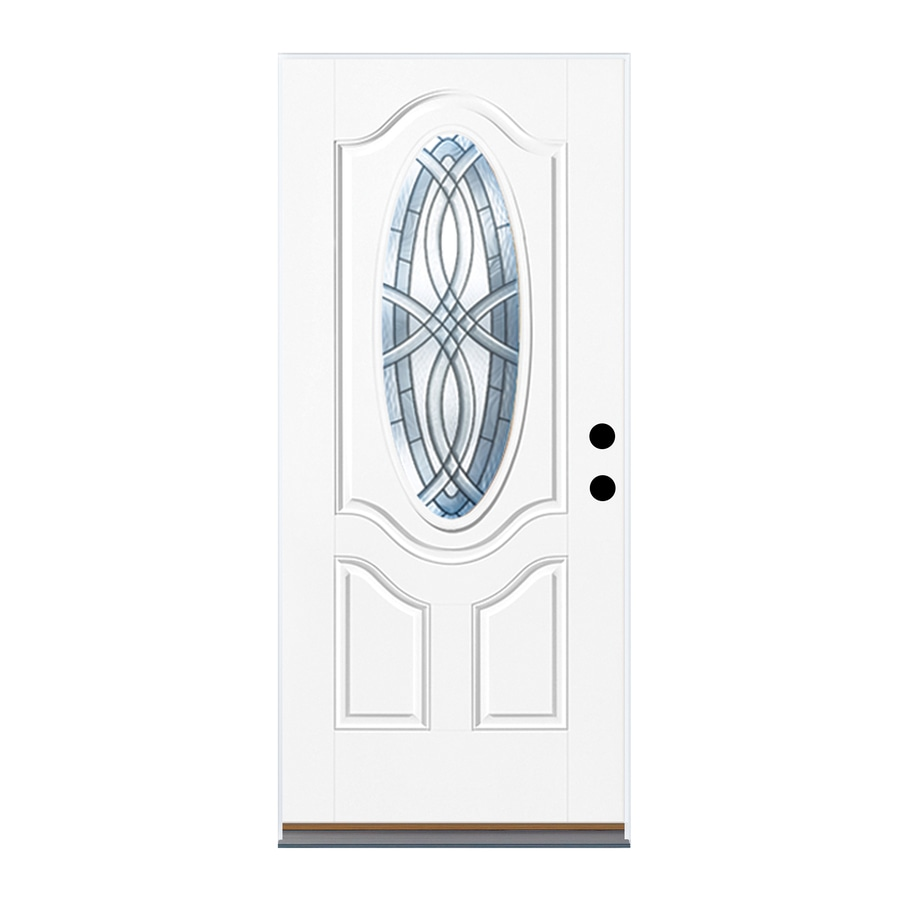 Therma-Tru Benchmark Doors Terracourt 2-Panel Insulating Core Oval Lite Left-Hand Inswing White Fiberglass Primed Prehung Entry Door (Common: 32-in x 80-in; Actual: 33.5-in x 81.5-in)