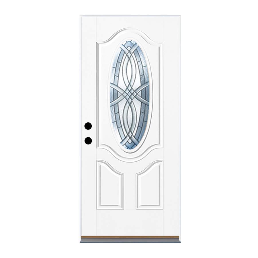 Therma-Tru Benchmark Doors TerraCourt 2-Panel Insulating Core Oval Lite Right-Hand Inswing Ready to Paint Fiberglass Unfinished Prehung Entry Door (Common: 32-in x 80-in; Actual: 33.5-in x 81.5-in)