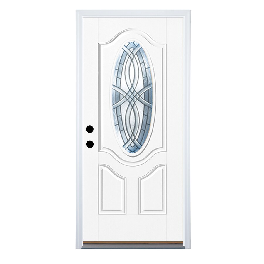 Therma-Tru Benchmark Doors TerraCourt 2-Panel Insulating Core Oval Lite Left-Hand Outswing Ready to Paint Fiberglass Unfinished Prehung Entry Door (Common: 32-in x 80-in; Actual: 33.5-in x 80.5-in)