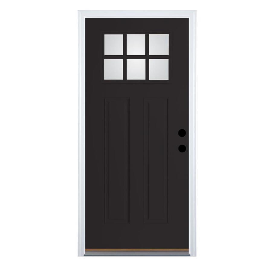 Therma-Tru Benchmark Doors Craftsman Insulating Core Craftsman 6-Lite Left-Hand Inswing Black Fiberglass Painted Prehung Entry Door (Common: 32-in x 80-in; Actual: 33.5-in x 81.5-in)