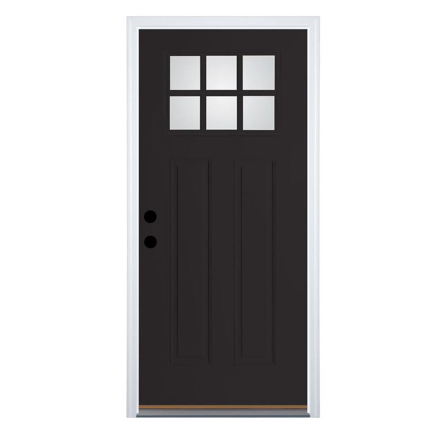 Therma-Tru Benchmark Doors Left-Hand Outswing Black Painted Fiberglass Entry Door with Insulating Core (Common: 32-in x 80-in; Actual: 33.5-in x 80.5-in)