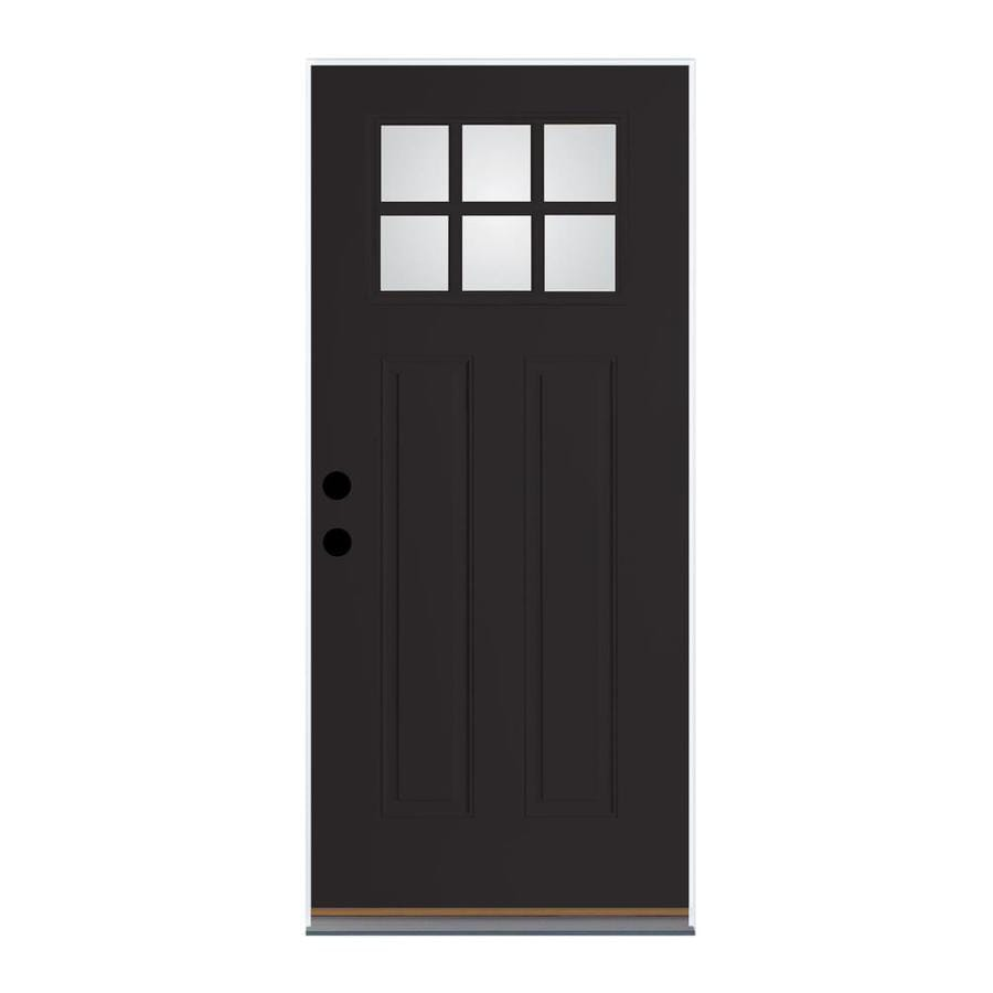 Therma-Tru Benchmark Doors Craftsman Insulating Core Craftsman 6-Lite Left-Hand Outswing Black Fiberglass Painted Prehung Entry Door (Common: 32-in x 80-in; Actual: 33.5-in x 80.5-in)