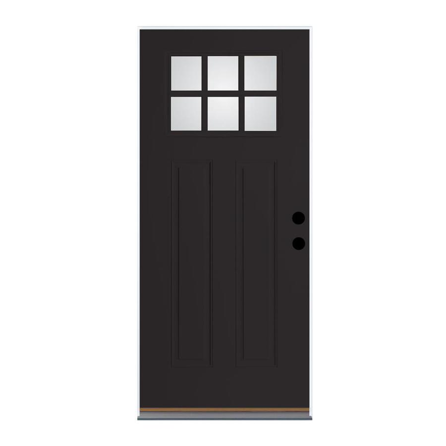 Therma-Tru Benchmark Doors Craftsman Insulating Core Craftsman 6-Lite Right-Hand Outswing Black Fiberglass Painted Prehung Entry Door (Common: 32-in x 80-in; Actual: 33.5-in x 80.5-in)