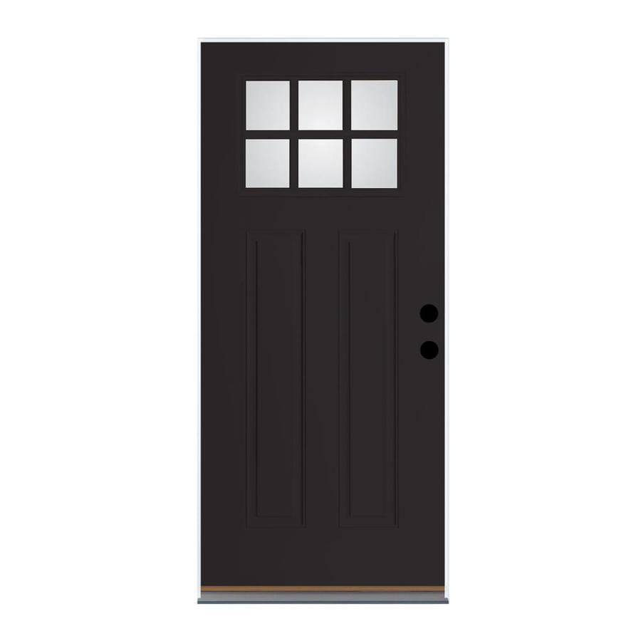 Therma-Tru Benchmark Doors Craftsman Insulating Core Craftsman 6-Lite Left-Hand Inswing Black Fiberglass Painted Prehung Entry Door (Common: 36-in x 80-in; Actual: 37.5-in x 81.5-in)