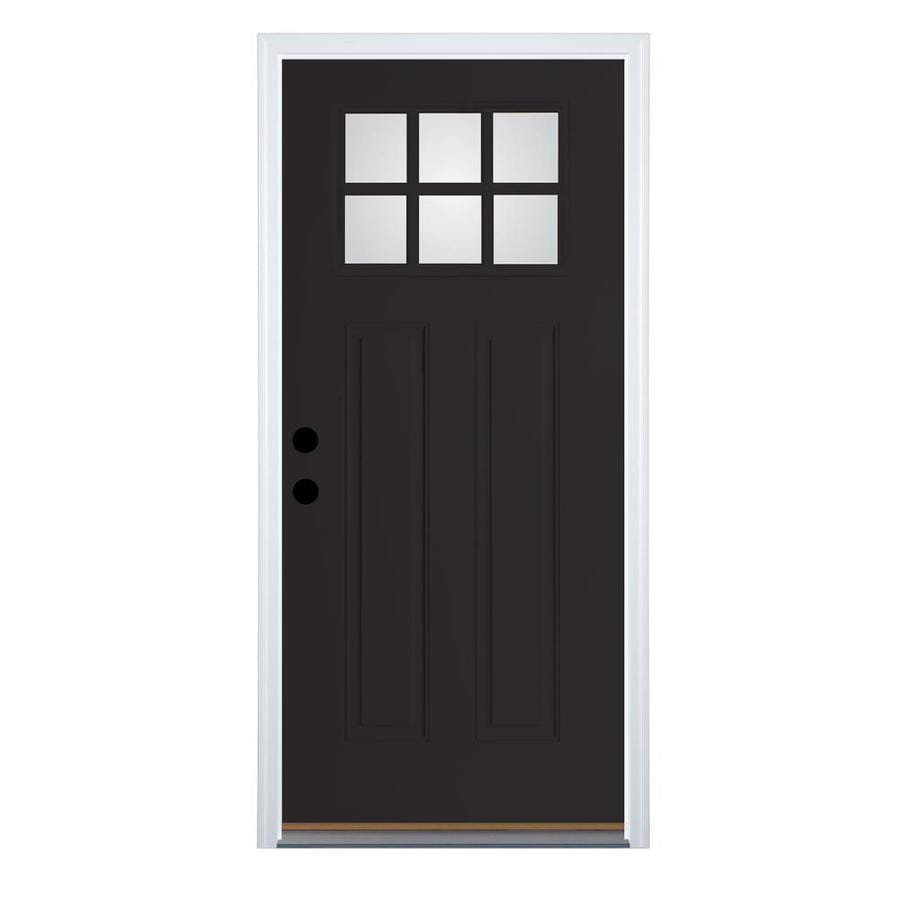 Therma-Tru Benchmark Doors Left-Hand Outswing Black Painted Fiberglass Entry Door with Insulating Core (Common: 36-in x 80-in; Actual: 37.5-in x 80.5-in)