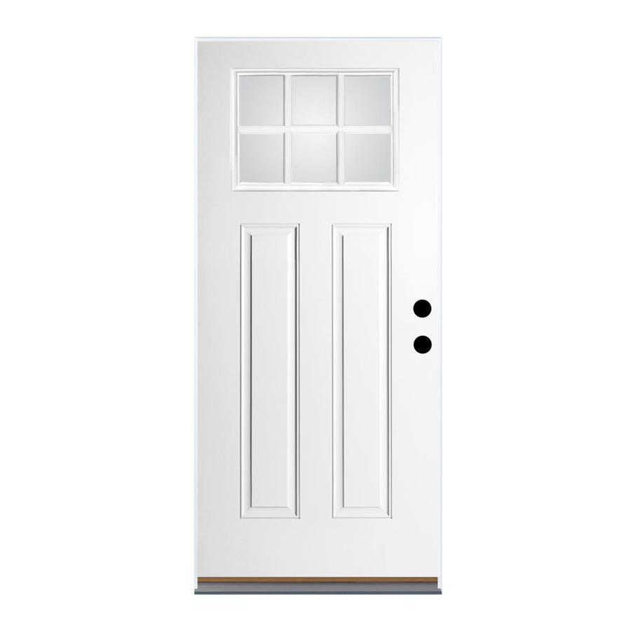 Therma-Tru Benchmark Doors Craftsman Insulating Core Craftsman 6-Lite Right-Hand Outswing Ready to Paint Fiberglass Unfinished Prehung Entry Door (Common: 32-in x 80-in; Actual: 33.5-in x 80.5-in)