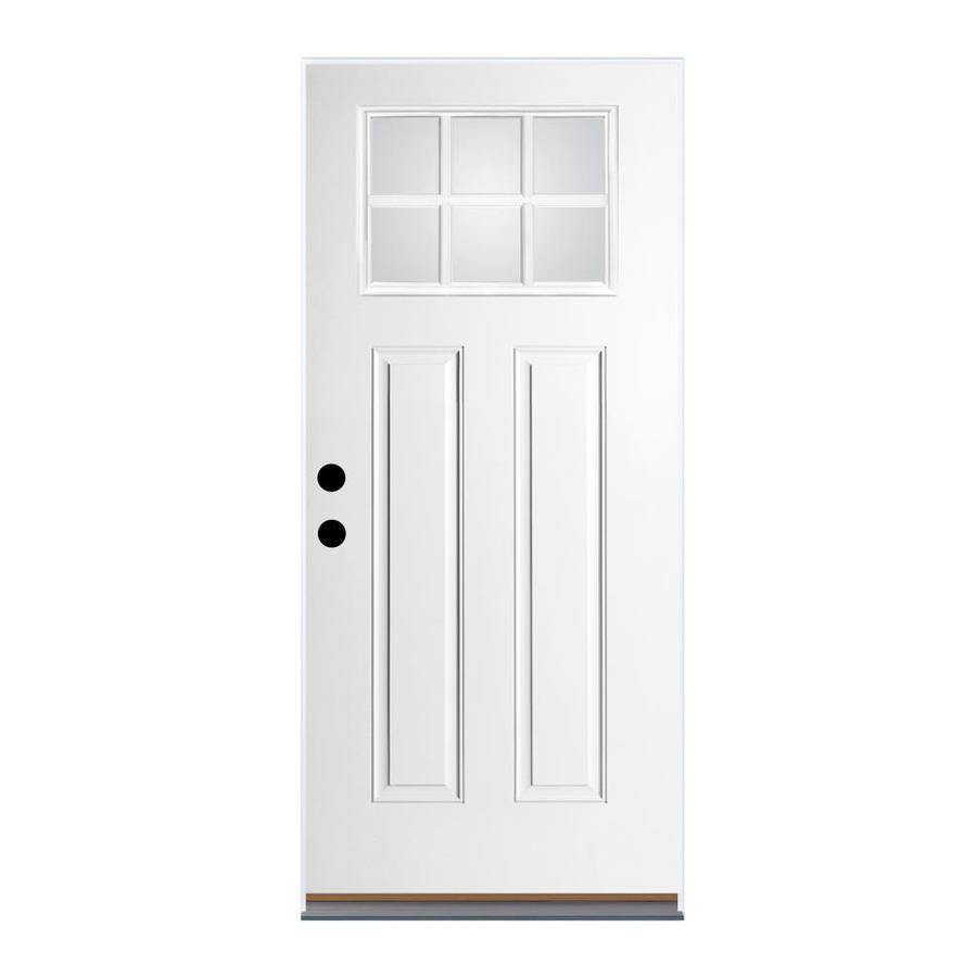 Therma-Tru Benchmark Doors Craftsman Insulating Core Craftsman 6-Lite Left-Hand Outswing Ready to Paint Fiberglass Unfinished Prehung Entry Door (Common: 32-in x 80-in; Actual: 33.5-in x 80.5-in)