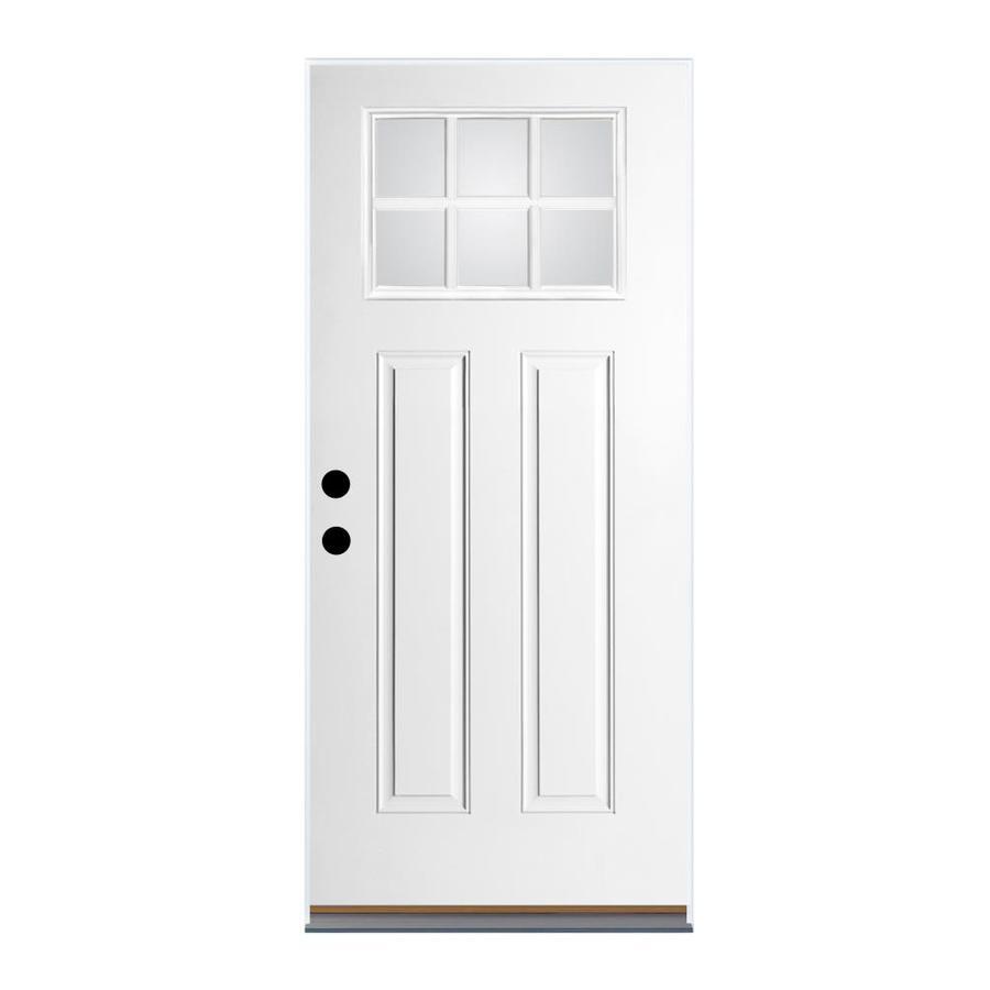 Therma-Tru Benchmark Doors Craftsman Insulating Core Craftsman 6-Lite Left-Hand Outswing White Fiberglass Primed Prehung Entry Door (Common: 36-in x 80-in; Actual: 37.5-in x 80.5-in)