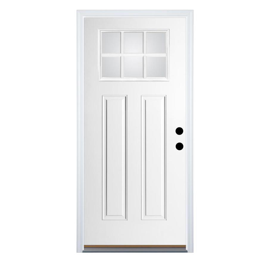 Therma-Tru Benchmark Doors Craftsman Insulating Core Craftsman 6-Lite Left-Hand Inswing Ready to Paint Fiberglass Unfinished Prehung Entry Door (Common: 36-in x 80-in; Actual: 37.5-in x 81.5-in)
