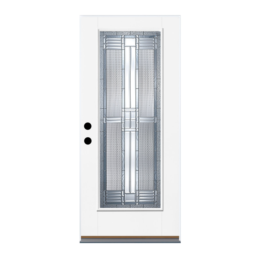 Therma-Tru Benchmark Doors DunThorpe Flush Insulating Core Full Lite Right-Hand Inswing Ready to Paint Fiberglass Unfinished Prehung Entry Door (Common: 32-in x 80-in; Actual: 33.5-in x 81.5-in)
