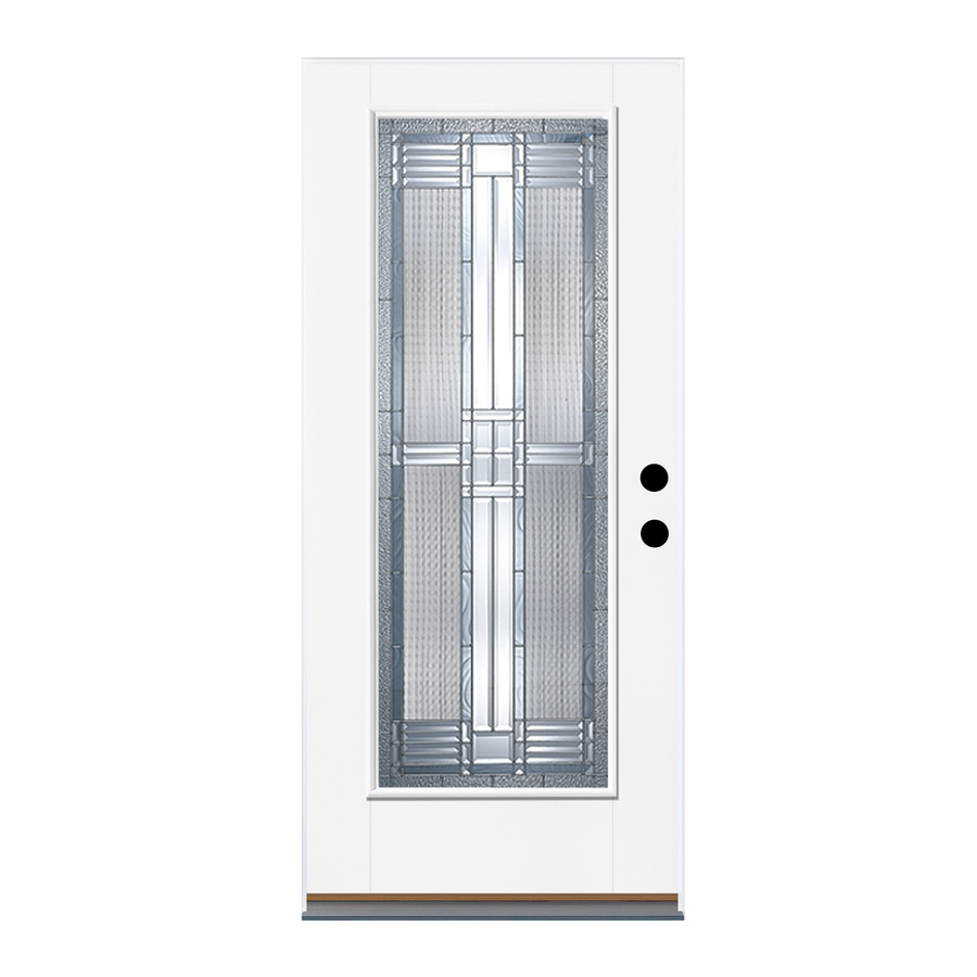 Therma-Tru Benchmark Doors DunThorpe Flush Insulating Core Full Lite Right-Hand Outswing Ready to Paint Fiberglass Unfinished Prehung Entry Door (Common: 36-in x 80-in; Actual: 37.5-in x 80.5-in)