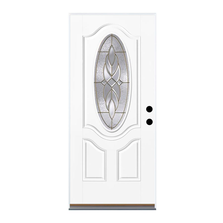 Therma-Tru Benchmark Doors Varissa 2-Panel Insulating Core Oval Lite Left-Hand Inswing Ready to Paint Fiberglass Unfinished Prehung Entry Door (Common: 32.0-in x 80.0-in; Actual: 33.5-in x 81.5-in)