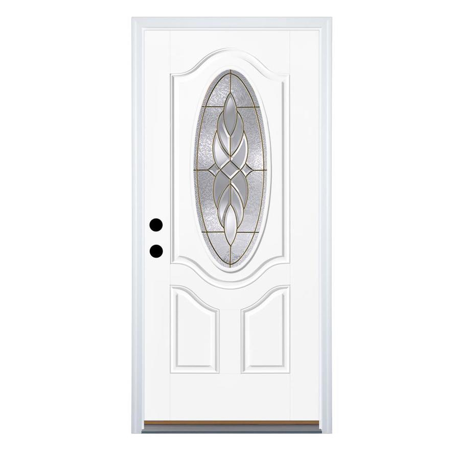 Therma-Tru Benchmark Doors Varissa 2-Panel Insulating Core Oval Lite Left-Hand Outswing Ready to Paint Fiberglass Unfinished Prehung Entry Door (Common: 36.0-in x 80.0-in; Actual: 37.5-in x 80.5-in)