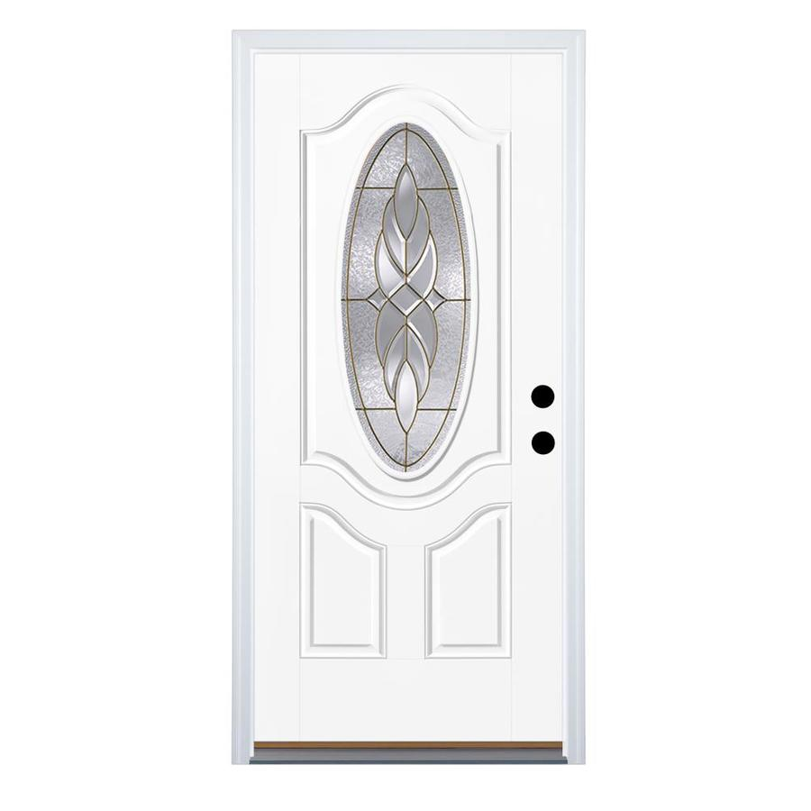 Therma-Tru Benchmark Doors Varissa 2-Panel Insulating Core Oval Lite Right-Hand Outswing Ready to Paint Fiberglass Unfinished Prehung Entry Door (Common: 36-in x 80-in; Actual: 37.5-in x 80.5-in)