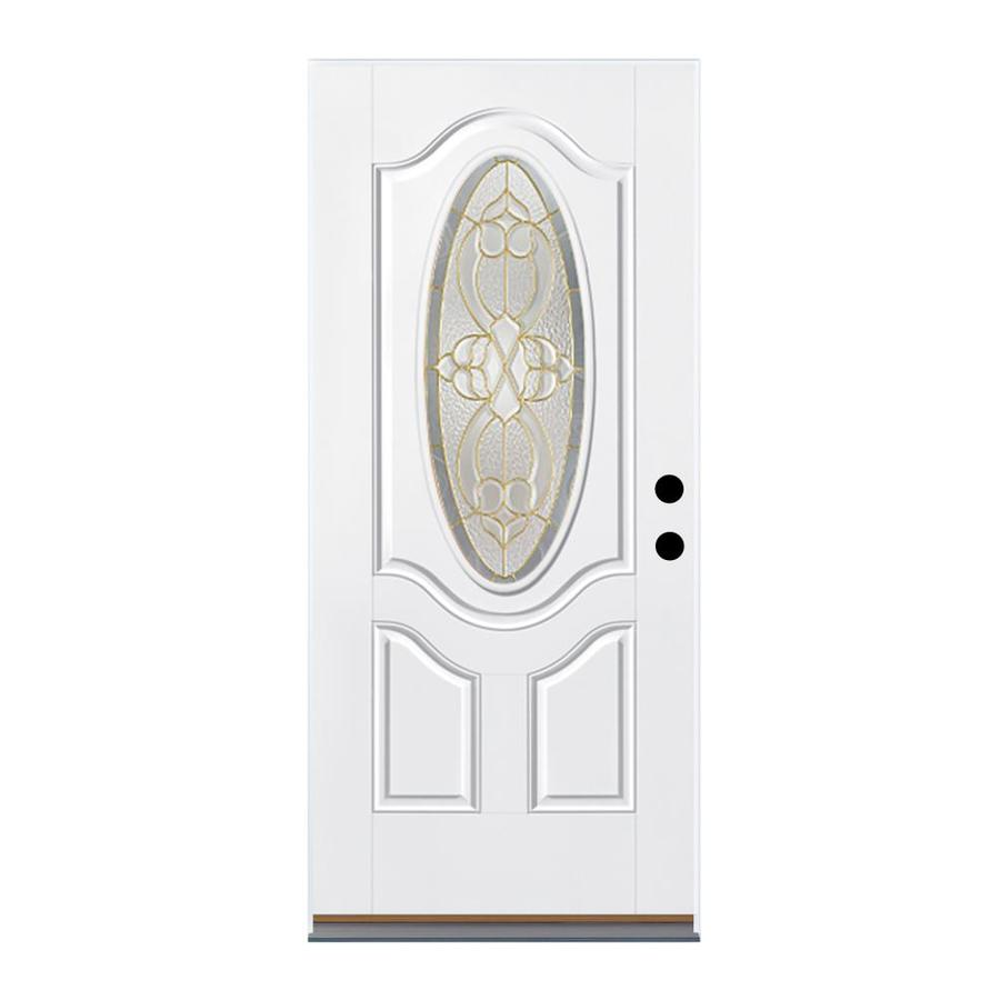 Therma-Tru Benchmark Doors Willowbrook 2-Panel Insulating Core Oval Lite Right-Hand Outswing Ready to Paint Fiberglass Unfinished Prehung Entry Door (Common: 32.0-in x 80.0-in; Actual: 33.5-in x 80.5-in)