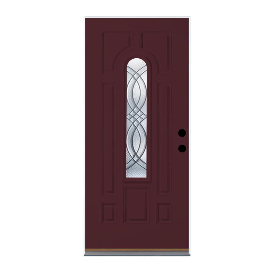Therma-Tru Benchmark Doors Terracourt Decorative Glass Left-Hand Inswing Cranberry Fiberglass Painted Entry Door (Common: 32-in x 80-in; Actual: 33.5-in x 81.5-in)