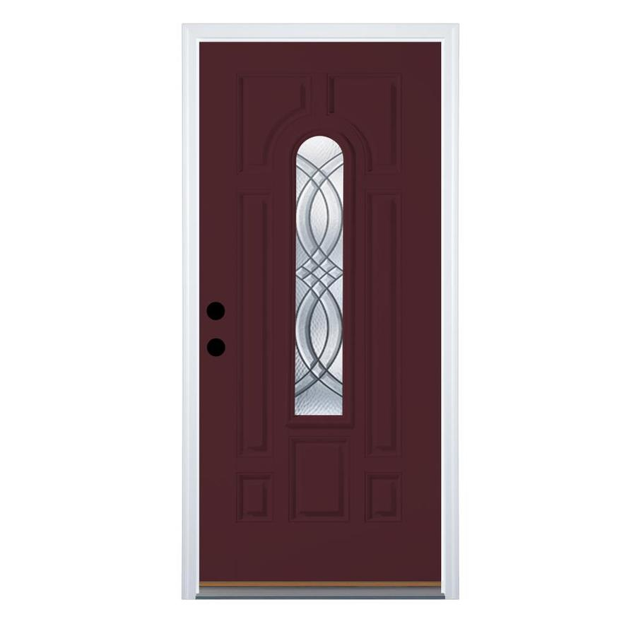 Therma-Tru Benchmark Doors TerraCourt 8-Panel Insulating Core Center Arch Lite Left-Hand Outswing Cranberry Fiberglass Painted Prehung Entry Door (Common: 32.0-in x 80.0-in; Actual: 33.5-in x 80.5-in)