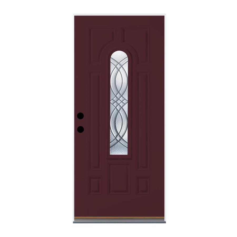 Therma-Tru Benchmark Doors TerraCourt 8-Panel Insulating Core Center Arch Lite Left-Hand Outswing Cranberry Fiberglass Painted Prehung Entry Door (Common: 36-in x 80-in; Actual: 37.5-in x 80.5-in)