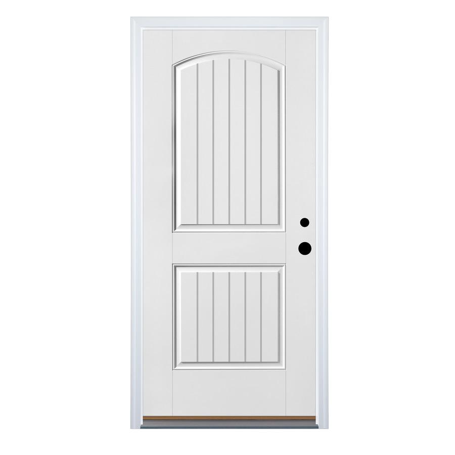 Therma-Tru Benchmark Doors 2-Panel Insulating Core Left-Hand Inswing Ready to Paint Fiberglass Prehung Entry Door (Common: 36-in x 80-in; Actual: 37.5-in x 81.5-in)