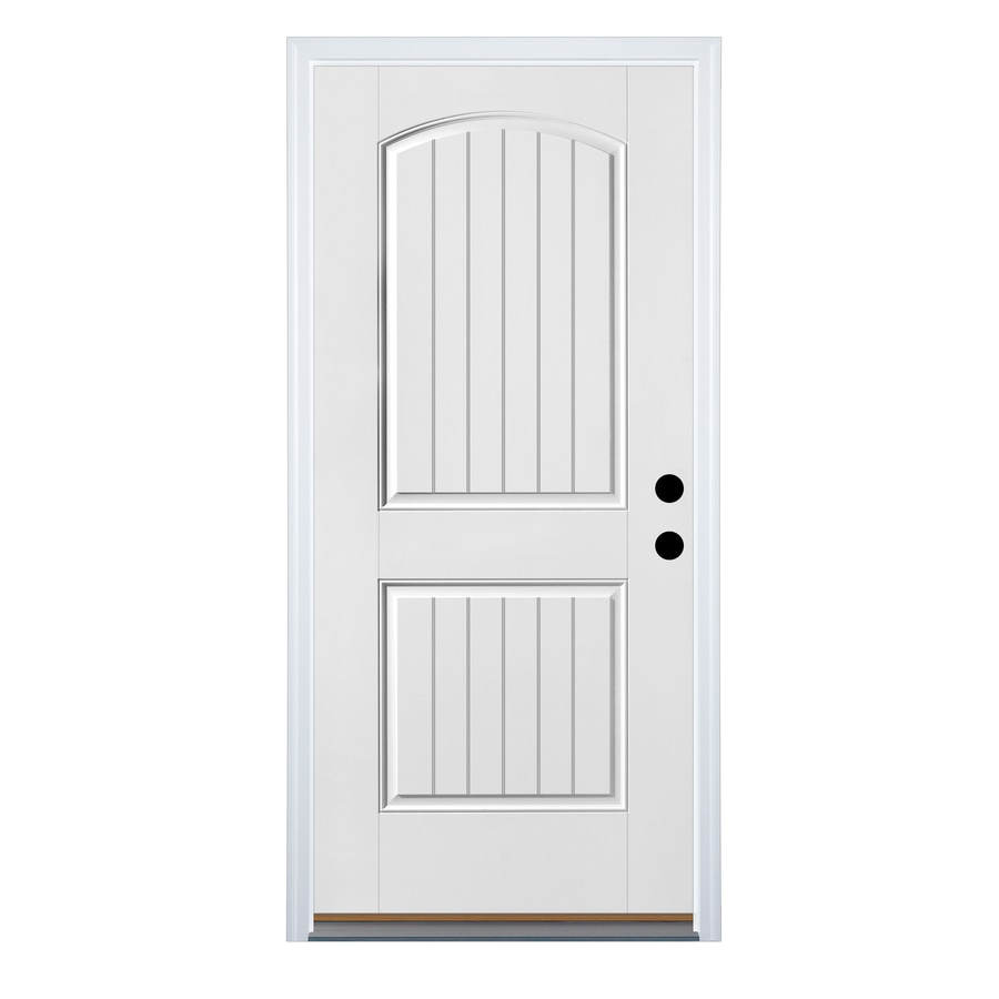 Therma-Tru Benchmark Doors 2-Panel Insulating Core Right-Hand Inswing White Fiberglass Primed Prehung Entry Door (Common: 36-in x 80-in; Actual: 37.5-in x 81.5-in)