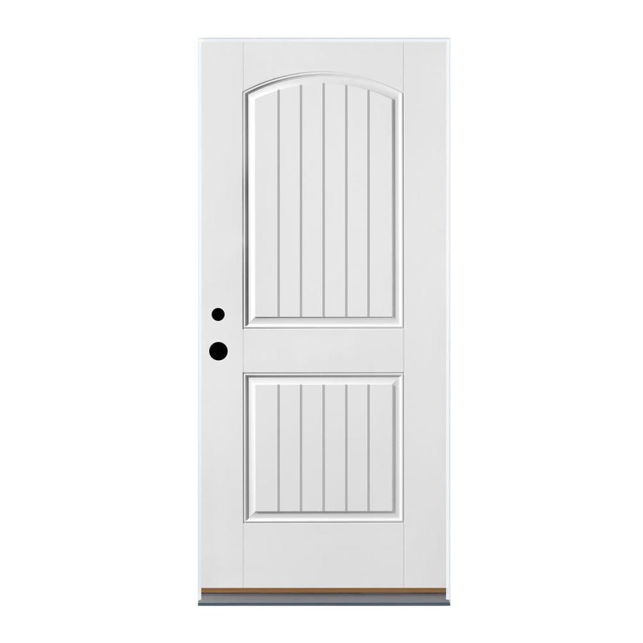 Therma-Tru Benchmark Doors 2-Panel Insulating Core Right-Hand Inswing Ready to Paint Fiberglass Prehung Entry Door (Common: 36-in x 80-in; Actual: 37.5-in x 81.5-in)
