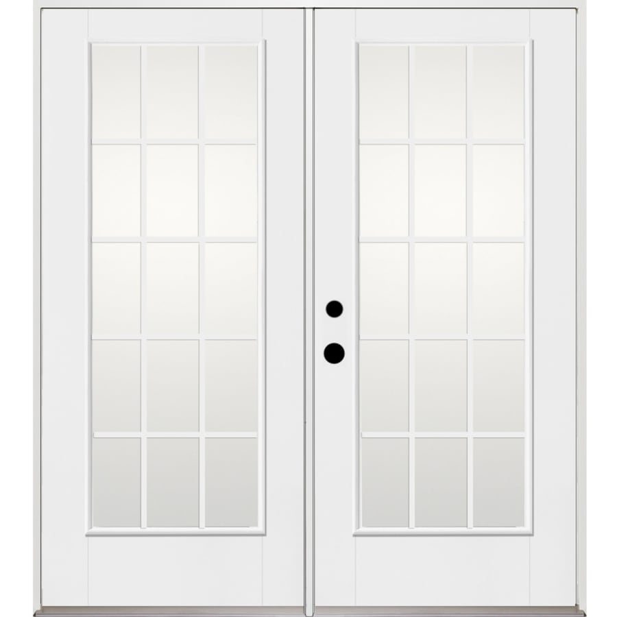 Benchmark by Therma-Tru 70.5625-in x 79.5-in Grilles Between the Glass Right-Hand Inswing Fiberglass French Patio Door