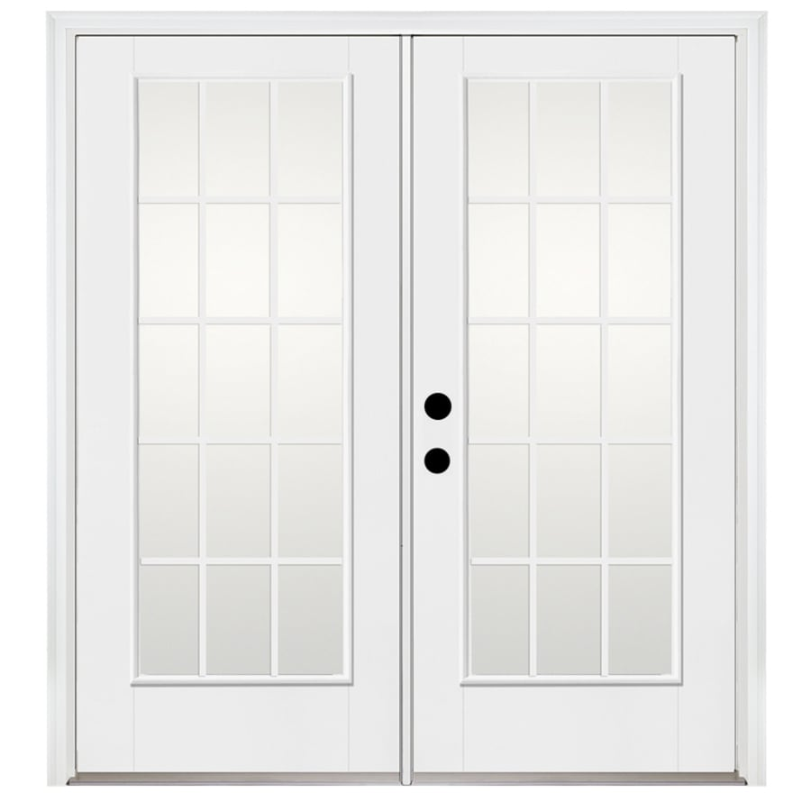 Benchmark by Therma-Tru 70.5625-in 15-Lite Grilles Between The Glass Glass Fiberglass French Inswing Patio Door