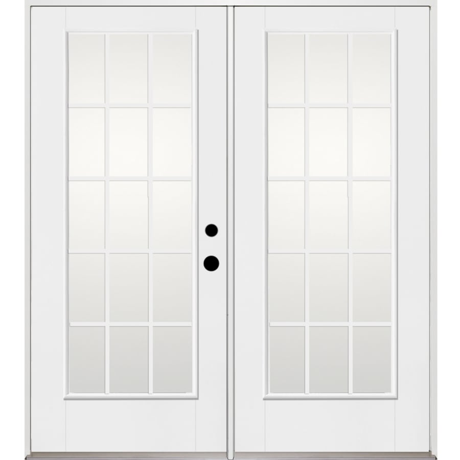 Benchmark by Therma-Tru 70.5625-in x 79.5-in Grilles Between the Glass Left-Hand Inswing Fiberglass French Patio Door