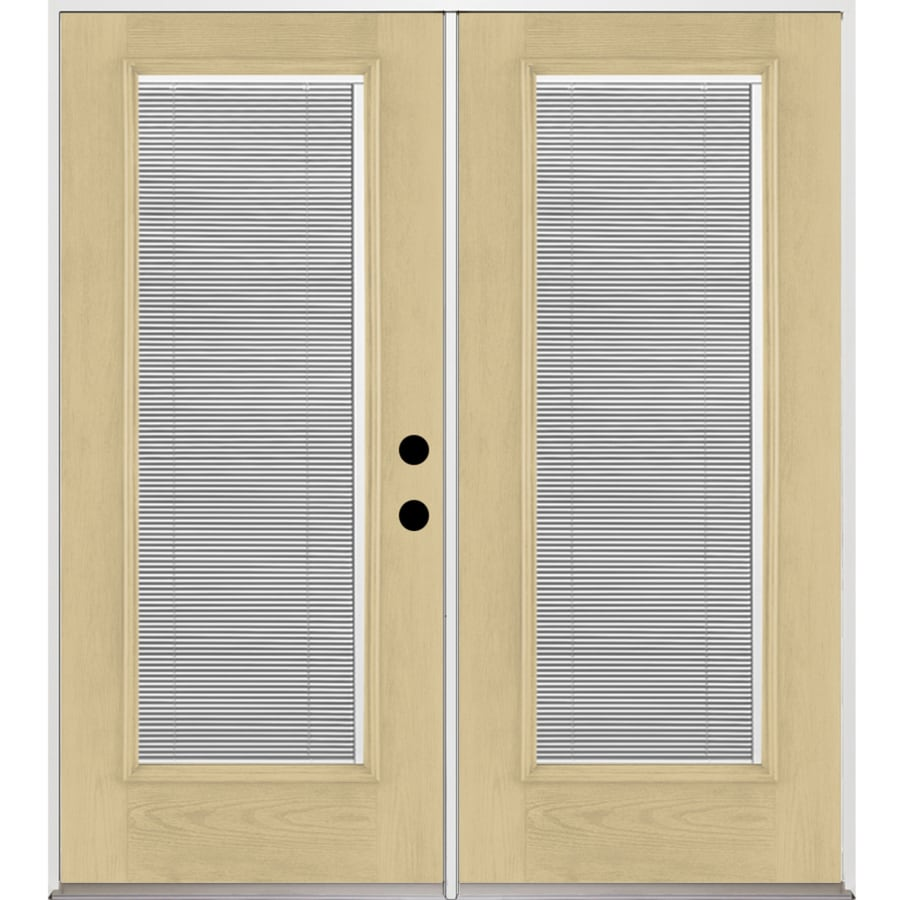 Benchmark by Therma-Tru 70.5625-in x 79.5-in Blinds Between the Glass Left-Hand Inswing Fiberglass French Patio Door