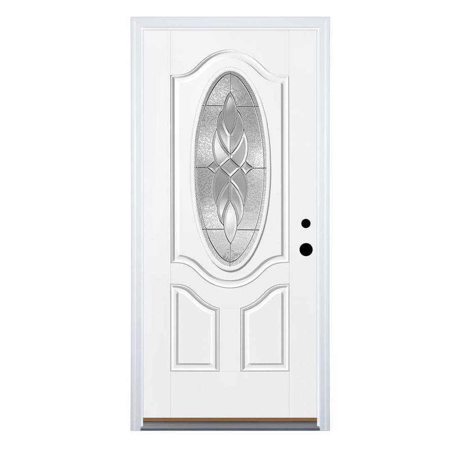 Therma-Tru Benchmark Doors Varissa 2-Panel Insulating Core Oval Lite Left-Hand Inswing Ready to Paint Fiberglass Prehung Entry Door (Common: 36.0-in x 80.0-in; Actual: 37.5-in x 81.5-in)