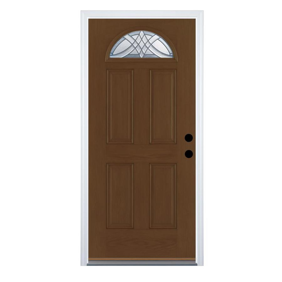Therma-Tru Benchmark Doors Terracourt Left-Hand Inswing Walnut Stained Fiberglass Entry Door with Insulating Core (Common: 36-in x 80-in; Actual: 37.5-in x 81.5-in)