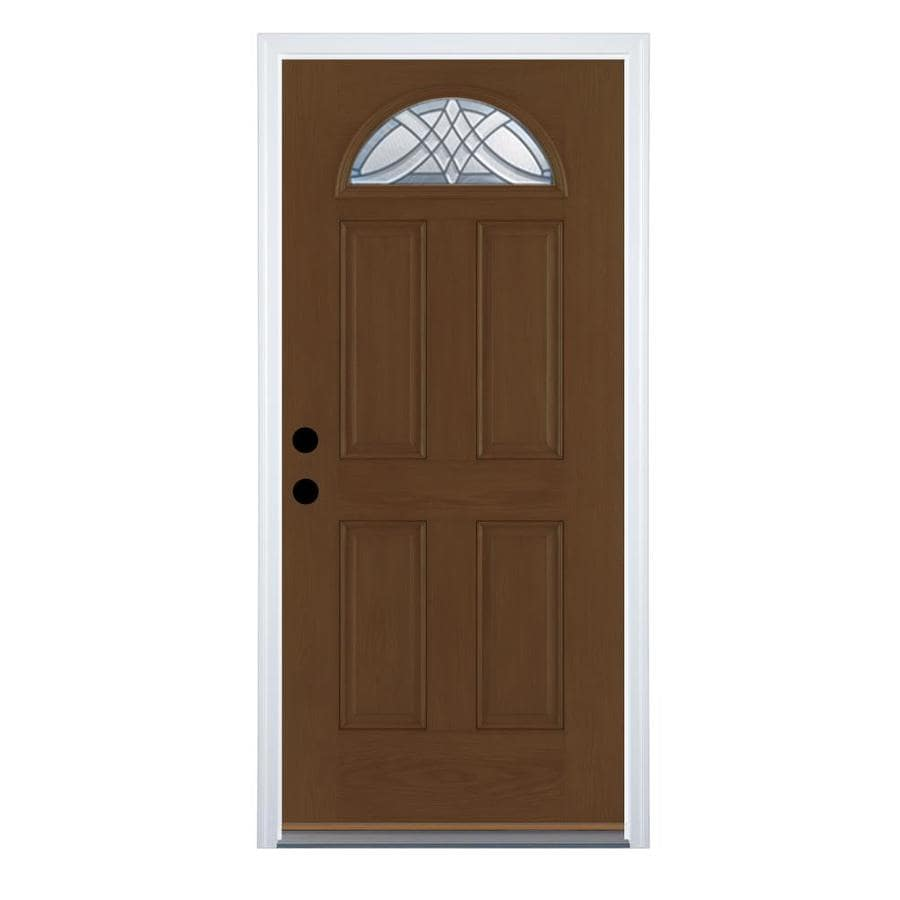 Therma-Tru Benchmark Doors Terracourt 4-Panel Insulating Core Fan Lite Right-Hand Inswing Walnut Fiberglass Stained Prehung Entry Door (Common: 36.0-in x 80.0-in; Actual: 37.5-in x 81.5-in)