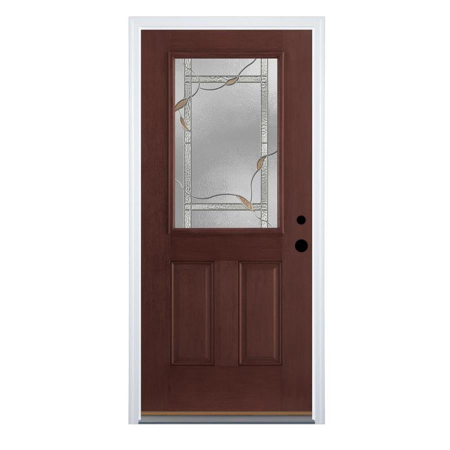 Therma-Tru Benchmark Doors Delano 2-Panel Insulating Core Half Lite Left-Hand Inswing Dark Mahogany Fiberglass Stained Prehung Entry Door (Common: 36-in x 80-in; Actual: 37.5-in x 81.5-in)