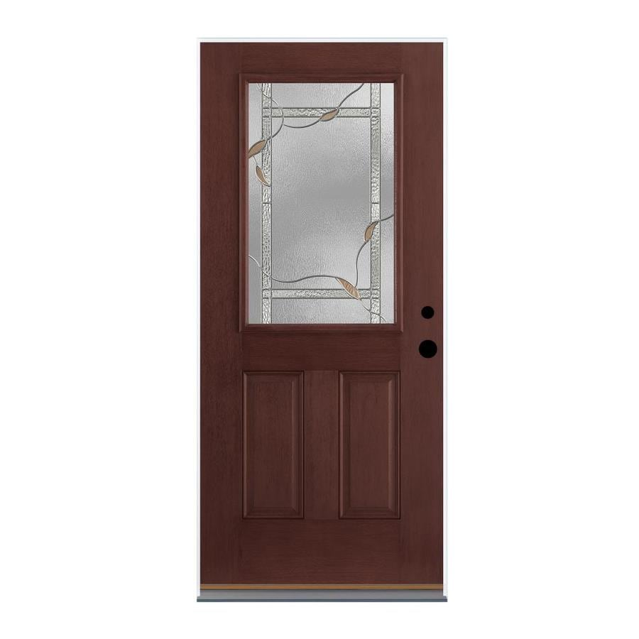 Therma-Tru Benchmark Doors Delano 2-Panel Insulating Core Half Lite Left-Hand Inswing Dark Mahogany Fiberglass Stained Prehung Entry Door (Common: 36.0-in x 80.0-in; Actual: 37.5-in x 81.5-in)