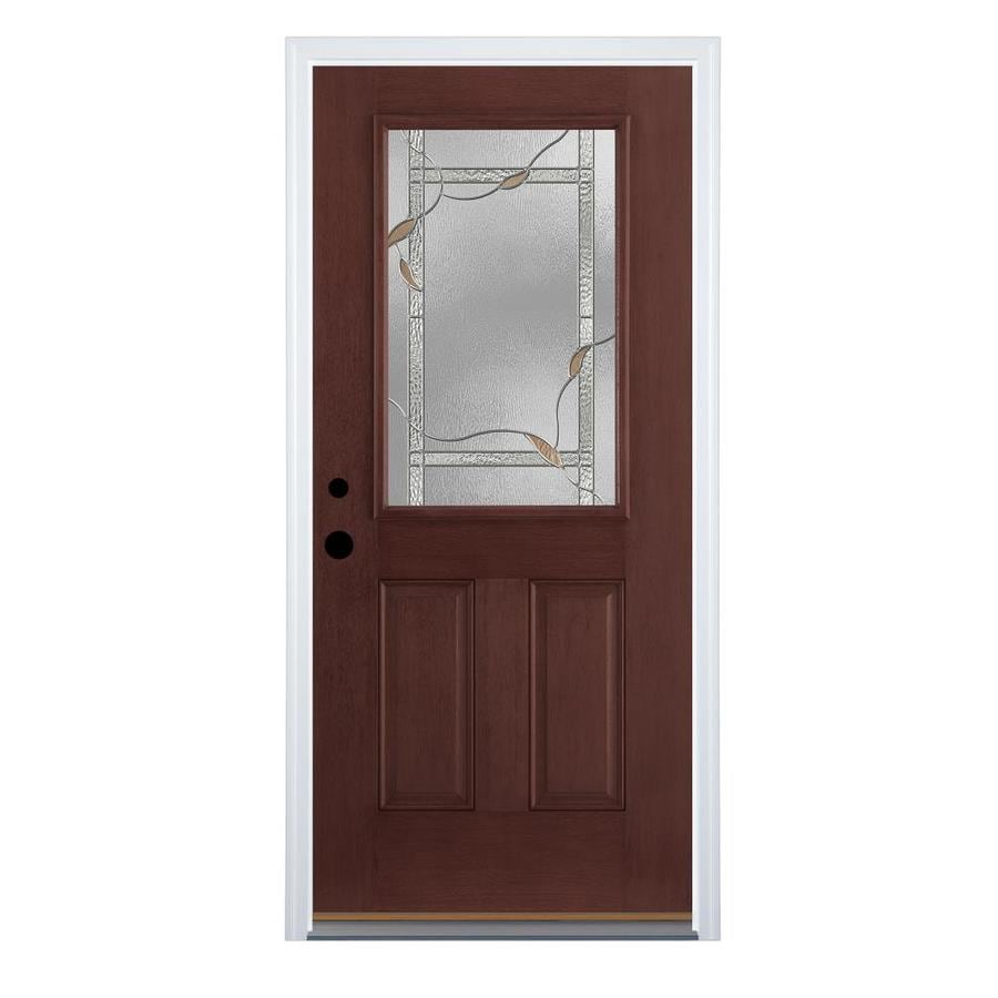 Therma-Tru Benchmark Doors Delano 2-Panel Insulating Core Half Lite Right-Hand Inswing Dark Mahogany Fiberglass Stained Prehung Entry Door (Common: 36.0-in x 80.0-in; Actual: 37.5-in x 81.5-in)
