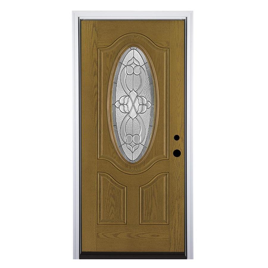 Therma-Tru Benchmark Doors Willowbrook Left-Hand Inswing Medium Oak Stained Fiberglass Entry Door with Insulating Core (Common: 36-in x 80-in; Actual: 37.5-in x 81.5-in)
